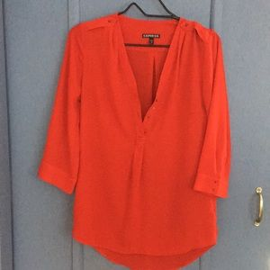 XS Express red silky professional shirt